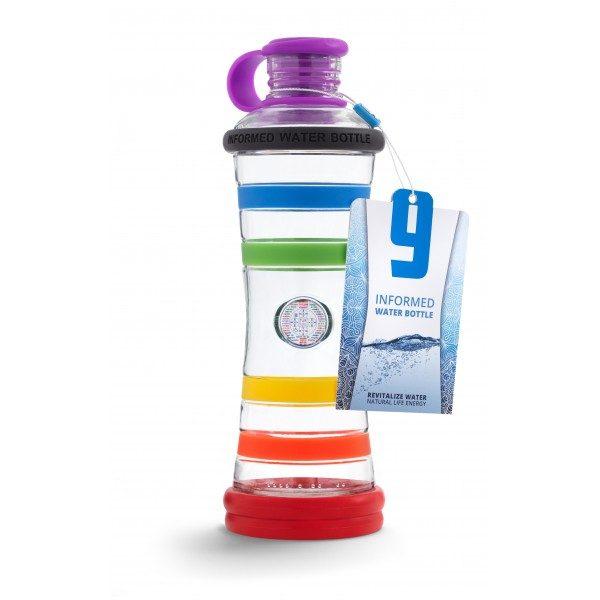 Inteligentná informovaná sklenená fľaša na vodu ekologická dúhová