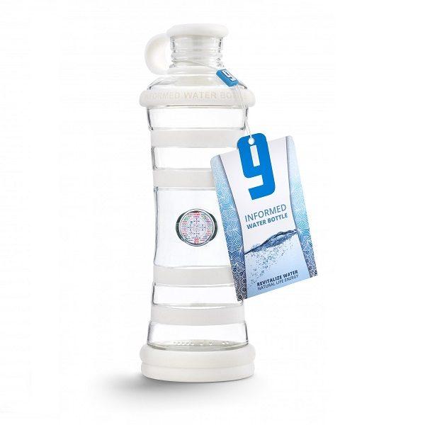 Inteligentná informovaná sklenená fľaša na vodu ekologická biela