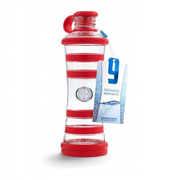 Inteligentná informovaná sklenená fľaša na vodu ekologická červená