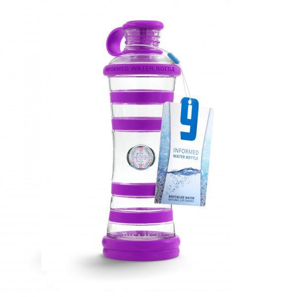Inteligentná informovaná sklenená fľaša na vodu ekologická fialová