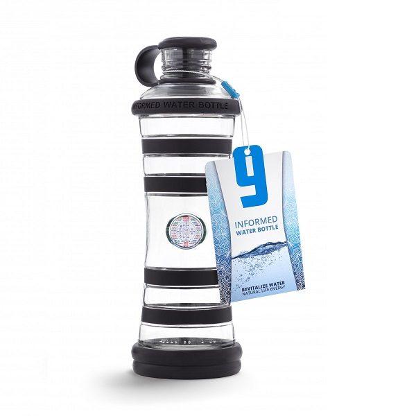 Inteligentná informovaná sklenená fľaša na vodu ekologická indigo