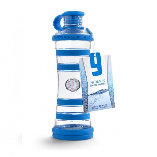 Inteligentná informovaná sklenená fľaša na vodu ekologická modrá