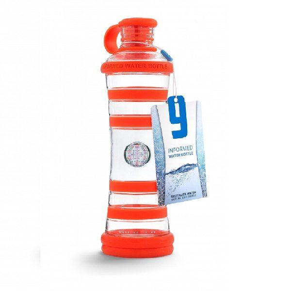 Inteligentná informovaná sklenená fľaša na vodu ekologická oranžová