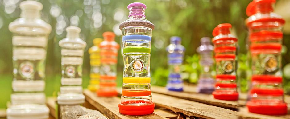Inteligentná informovaná sklenená fľaša na vodu ekologická