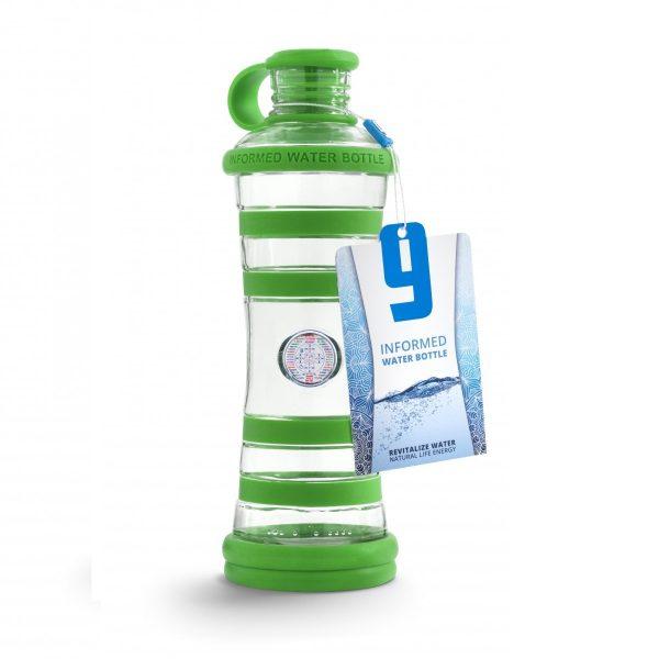 Inteligentná informovaná sklenená fľaša na vodu ekologická zelená