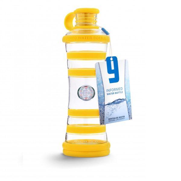 Inteligentná informovaná sklenená fľaša na vodu ekologická žltá